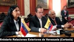 La cancilller venezolana, Delcy Rodríguez, denunció en la reunión de cancilleres de UNASUR la intervención de EE.UU en ese país.
