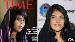 Aisha, perempuan Afghanistan yang dimutilasi suaminya, sebelum operasi (kiri) dan sesudah operasi di Amerika.