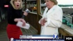 26일 미 동부 버지니아 주 로아노크 시 인근에서 생방송 중이던 24살 방송기자 앨리슨 파커 씨(왼쪽)가 괴한의 총격을 받아 사망했다.