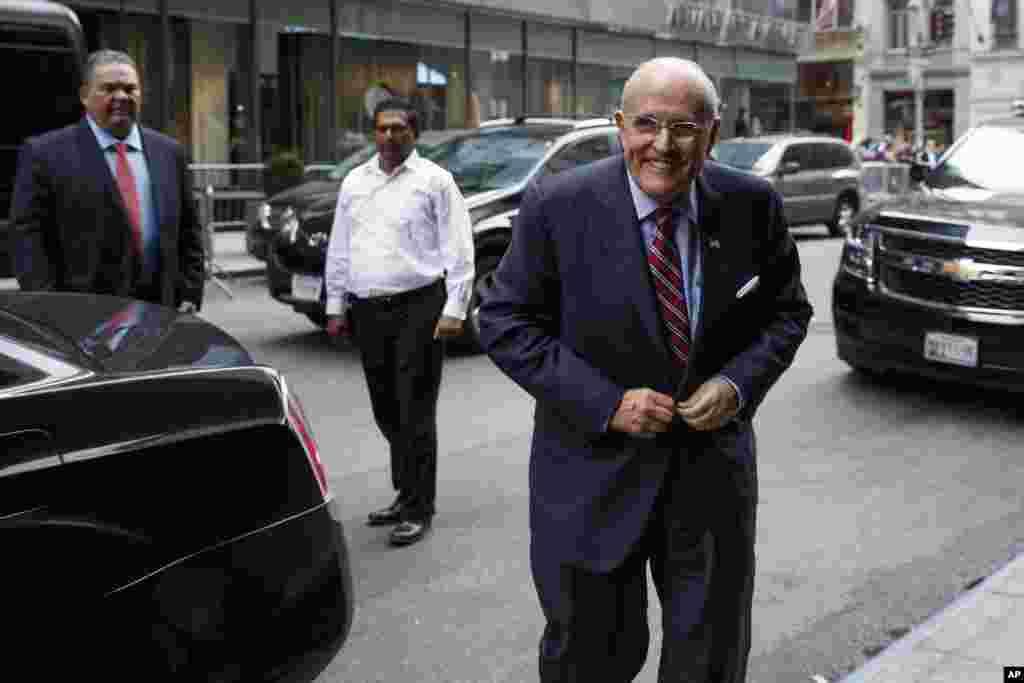 Former New York mayor Rudy Giuliani arrives at Trump Tower Saturday.