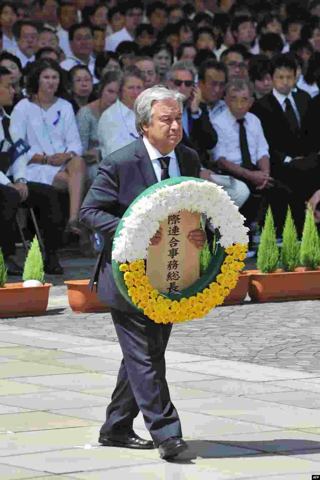 حضور آنتونیو گوترش دبیرکل سازمان ملل در مراسم هفتاد و سومین سالگرد بمباران اتمی ژاپن در پارک یادبود صلح ناکازاکی