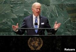 Presiden AS Joe Biden dalam pembukaan sidang ke-76 Majelis Umum PBB di New York, AS, 21 September 2021. (REUTERS/Eduardo Munoz/Pool)