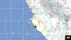 Peta gempa bumi Peru pada 2012.
