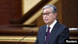 Acting President of Kazakhstan Kassym-Jomart Tokayev delivers a speech as he takes part in a swearing-in ceremony during a joint session of the houses of parliament in Astana, Kazakhstan, March 20, 2019.