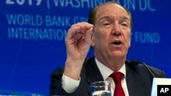2019年4月11日世界银行行长马尔帕斯在华盛顿举行的新闻发布会上发表讲话。