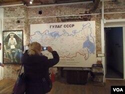 莫斯科古拉格博物馆中苏联境内的古拉格集中营分布图 (美国之音白桦)
