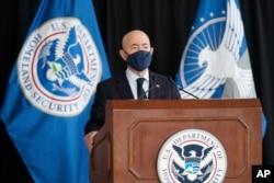 Secretary of Homeland Security Alejandro Mayorkas speaks about aviation security ahead of the summer travel season during a news conference at Ronald Reagan Washington National Airport, May 25, 2021, in Arlington, Va.