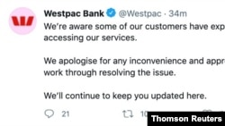 A screenshot from an official Westpac Bank twitter account is seen as the country's main lenders grappled with internet outages