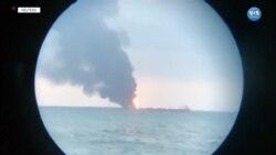 Türk Mürettebatı Bulunan İki Gemi Kırım Yakınlarında Alev Aldı