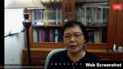 Prof. Sulistyowati Irianto memaparkan materinya mengenai kekerasan seksual terhadap perempuan dan anak dalam perspektif penegakan hukum (foto: screenshot)