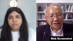Uỷ viên USCIRF Anurima Bhargava và Giám mục Nguyễn Thái Hợp tham gia Hội luận Ngày Vận động Việt Nam hôm 31/7/2020.