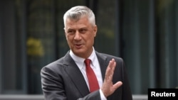 Hashim Thaci is pictured during a news conference as he resigns as Kosovo's president to face war crimes charges at a special court based in The Hague, in Pristina, Kosovo, Nov. 5, 2020.