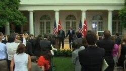 奥巴马和到访土耳其总理讨论叙利亚问题