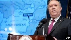 El secretario de Estado Mike Pompeo en una rueda de prensa celebrada en el National Press Club, en Washington D.C., el 12 de enero de 2021.