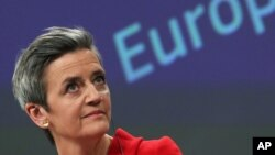 European Commission Vice President Margrethe Vestager speaks during a media conference on the proposal for a Regulation to address distortions caused by foreign subsidies in the Single Market and on the European Industrial Strategy Update at EU…
