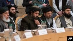 Delegación de los Talibanes en la conferencia internacional celbrada en Moscú, Rusia, el 18 de marzo de 2021.