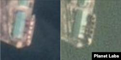 지난 7월26일 촬영된 위성사진(왼쪽)과 8월8일 위성사진 비교. 7월26일까지 가득하던 적재함 속 하얀 포대들이 8월8일에는 모두 하역된 듯 텅 빈 적재함을 보이고 있다. 자료=Planet Labs
