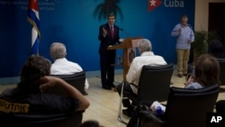 Cuba´s Foreign Minister Bruno Rodriguez speaks during a press conference in Havana, Cuba, Tuesday, July 13, 2021. Rodriguez spoke after a rare outpouring of weekend protests over high prices and food shortages in the island nation where little…