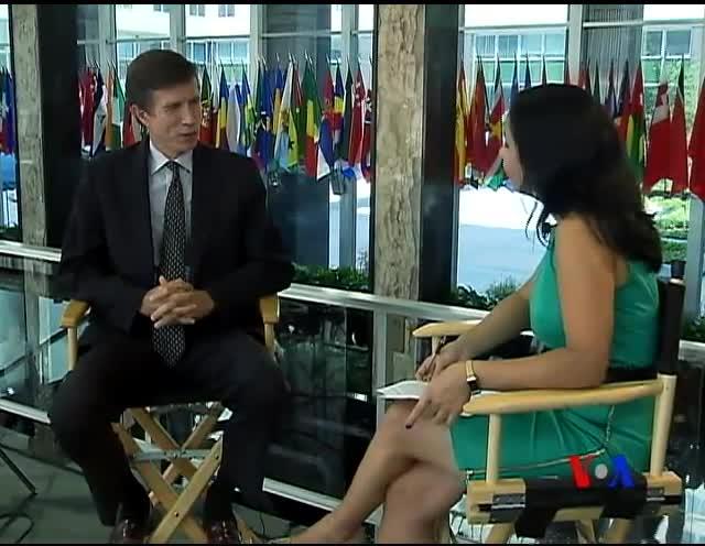 Assistant Secretary Robert Blake talks to VOA Uzbek