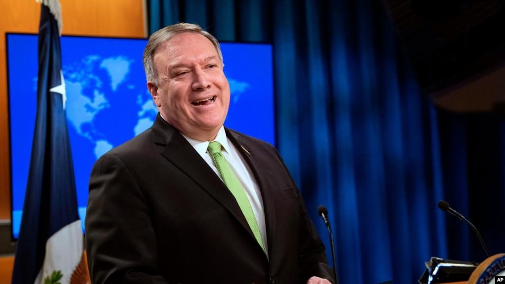 国务卿蓬佩奥在位于华盛顿的美国国务院举行的记者会上讲话。(2020年5月20日)