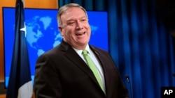 Menteri Luar Negeri AS Mike Pompeo berbicara di Washington DC, Rabu (20/5).