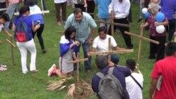 Manifestantes protestan en templos católicos de Nicaragua
