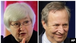 FILE - A combination of photos shows current Treasury Secretary Janet Yellen, left, and former Treasury Secretary Lawrence Summers.