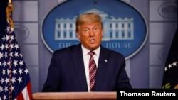 도널드 트럼프 미국 대통령이 5일 백악관에서 대선 관련 기자회견을 하고 있다.