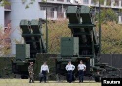 지난 2013년 4월 북한의 군사 도발 위협에 대응해 일본 도쿄 인근에 배치된 자위대 소속 패트리어트 지대공 요격 미사일. (자료사진)