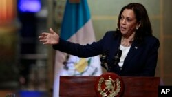 Vice President Kamala Harris speaks during a news conference at the National Palace in Guatemala City, June 7, 2021.