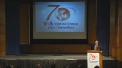 Zamira Edwards shares her story at VOA's Albanian Service's 70th Anniversary