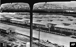 FILE - A view of the Japanese internment camp near Tanforan, Calif.