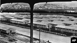 A view of the Japanese internment camp near Tanforan, Calif.