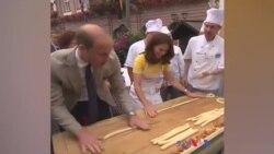 برطانیہ کے شہزادہ ولیم اور شہزادی کیٹ پریٹزیل بناتے ہوئے
