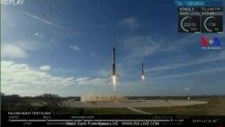 El regreso a tierra de los cohetes impulsores del Falcon Heavy