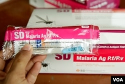 Malaria rapid diagnostic tests (RDTs) kit in Samlout district, Battambang province on June 18, 2020. (Hean Socheata/VOA Khmer)