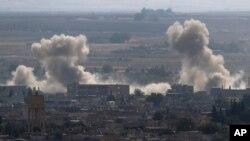Сирийский город Рас-эль-Айн на границе с Турцией подвергся бомбардировкам, 15 октября 2019 года