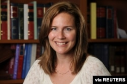 U.S. Court of Appeals for the Seventh Circuit Judge Amy Coney Barrett, a law professor at Notre Dame University, poses in an undated photograph obtained from Notre Dame University, Sept 19, 2020.