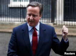 Britain's Prime Minister David Cameron makes a statement outside 10 Downing Street in Westminster, London, July 11, 2016.
