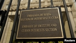 FILE - The Cuban Interests Section is seen in Washington, July 1, 2015