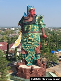The 30-meter statue at the Kwan Seng Bio temple in Tuban, East Java.