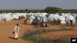 A resident walks through a camp for the internally-displaced run by the United Nations refugee agency UNHCR in Dolo, Somalia.