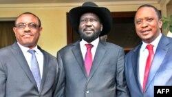 남수단 유혈사태가 계속되는 가운데, 살바 키르 남수단 대통령(가운데)이 26일 주바에서 하이을러마리얌 더살런 에티오피아 총리(왼쪽), 우후루 케냐타 케냐 대통령과 회동했다.
