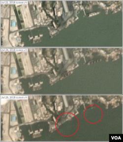 북한 남포 석탄 항구를 촬영한 위성사진. 7월22일(위)엔 적재 공간을 덮개로 닫은 1척의 선박이 있지만, 24일(가운데)엔 덮개를 연 2척의 선박이 확인된다. 이후 29일 두 선박이 사라진 모습(원 안)이 보인다. 사진제공=Planet Labs Inc.