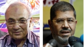 Egyptian presidential candidates Ahmed Shafiq (l), Mohammed Morsi, who will face off in a second round of voting in mid-June