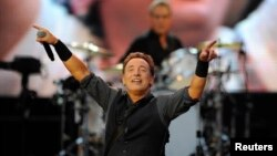 Bruce Springsteen and the E-street band perform during a concert in northern Spain in June.