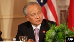 FILE - Cui Tiankai, China's Ambassador to the U.S. participates in the Plenary Session of the U.S.-China Consultation on People-to-People Exchange during the seventh U.S.-China Strategic and Economic Dialogue at the U.S. State Department in Washington D.C.