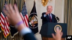 President Joe Biden delivers remarks on the debt ceiling during an event in the State Dining Room of the White House, Oct. 4, 2021.
