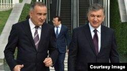 Toshkent shahar hokimi Jahongir Ortiqxo'jayev Prezident Shavkat Mirziyoyev bilan (arxiv)