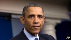 Tổng thống Barack Obama nói chuyện với truyền thông báo chí tại Tòa Bạch Ốc sau cuộc họp với các nhà lãnh đạo Quốc hội về cắt giảm công chi tự động, 1/3/2013